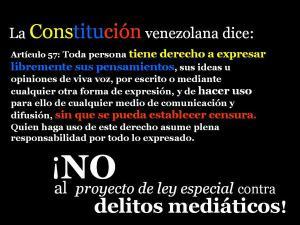 Artículo 57 de la vigente Constitución Bolivariana de Venezuela