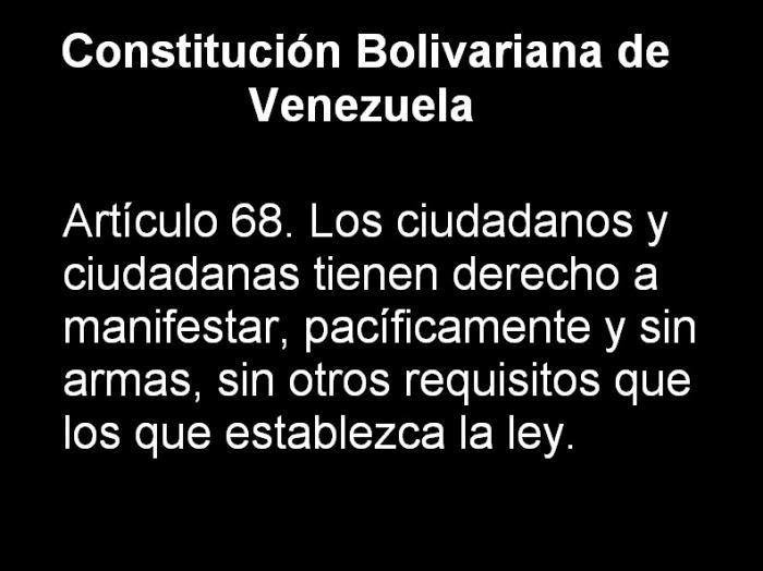 Artículo 68 de la Constitución Bolivariana de Venezuela