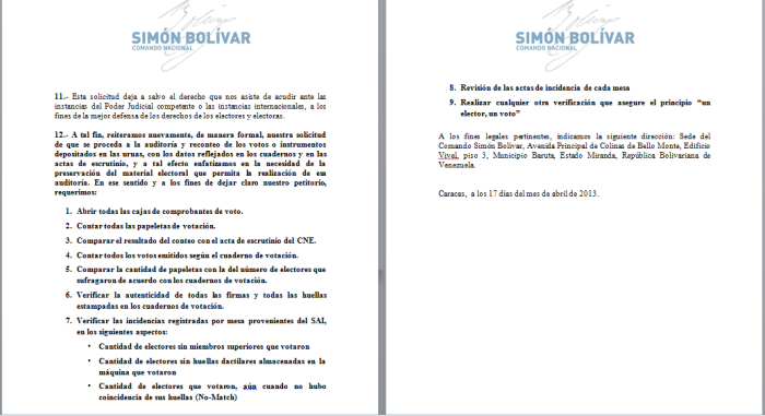 Carta entregada al CNE por el Comando SB